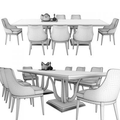 Galimberti Nino Corallo and Adele Table & Chair 3D Model