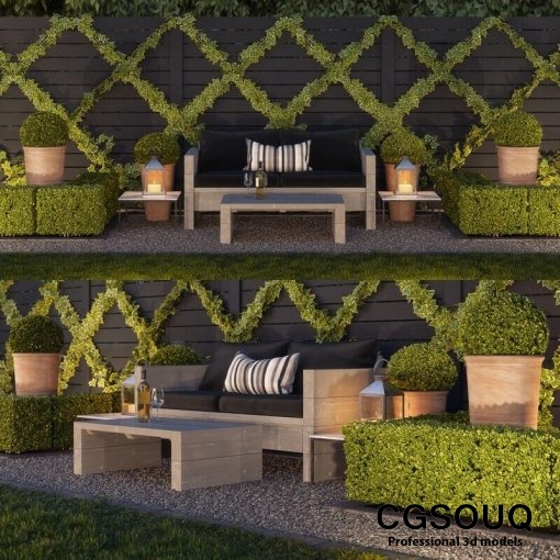 Garden seating area 3D model (1)