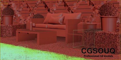 Garden seating area 3D model (10)