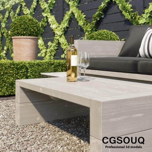 Garden seating area 3D model (12)