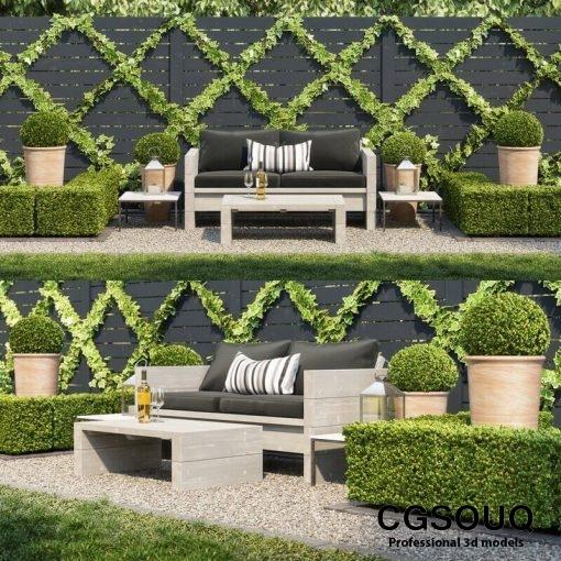 Garden seating area 3D model (2)