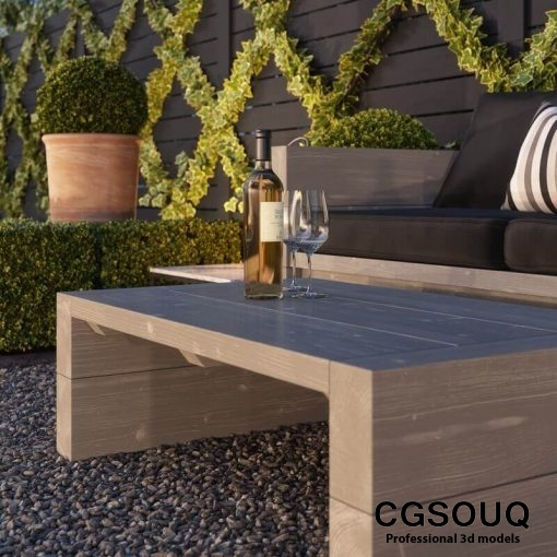 Garden seating area 3D model (3)