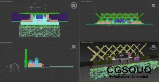 Garden seating area 3D model (7)