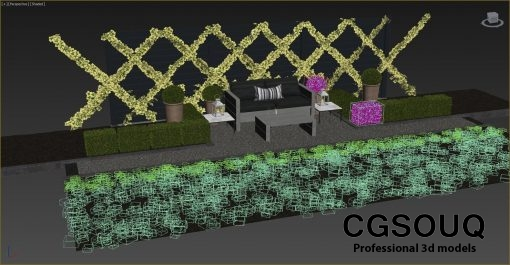 Garden seating area 3D model (8)