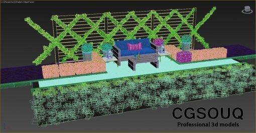 Garden seating area 3D model (9)