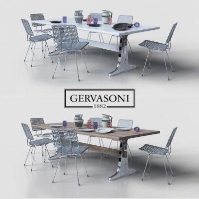 Gervasoni 1882 Table & Chair 3D Model