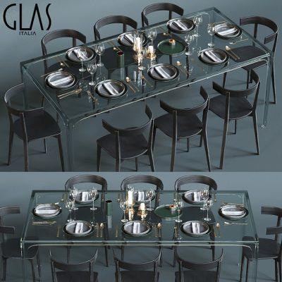 Glas Italia Table & Chair 3D Model