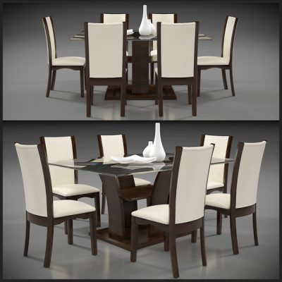 Glass Top Kitchen Dining Table & Chair 3D Model