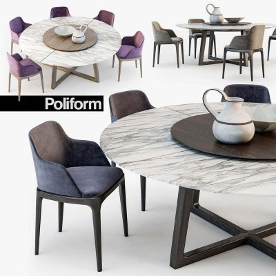 Poliform Grace chair Concorde table 3D model