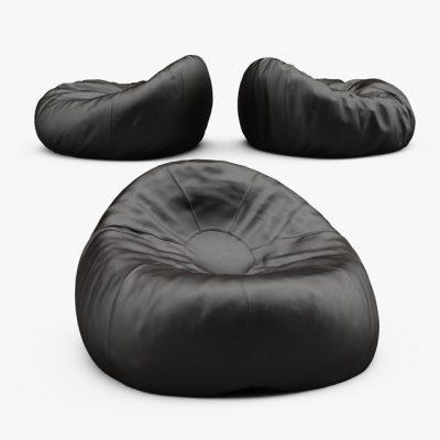Grand Leather Bean Bag 3D Model 3