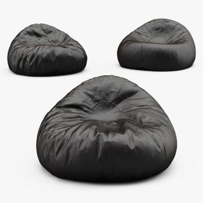 Grand Leather Bean Bag 3D Model