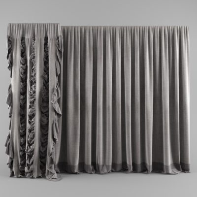 Gray Frill Curtains 3D model
