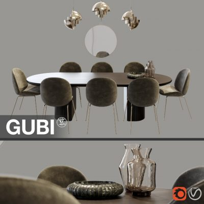 Gubi Table & Chair Set 3D Model