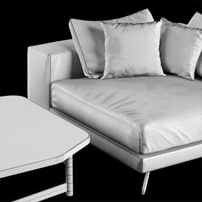 Henge X-One Sofa & Table Set 3D Model