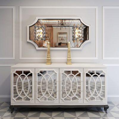 High End Italian White Fretwork Mirrored Sideboard 3D Model