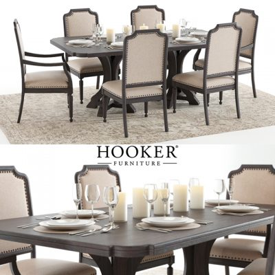 Hooker Corsica Set-01 Table & Chair 3D Model