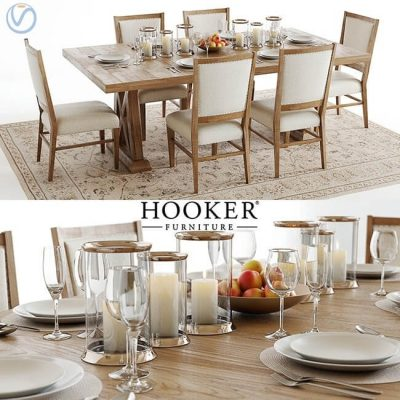 Hooker Furniture Table and Chair with Accessories 3D model
