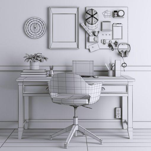 Ikea-38 Table & Chair 3D Model 2