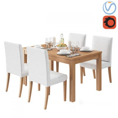 Ikea Henriksdal Bjursta Table & Chair 3D Model