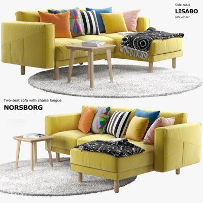 Ikea Norsborg Sofa Set-03 3D Model