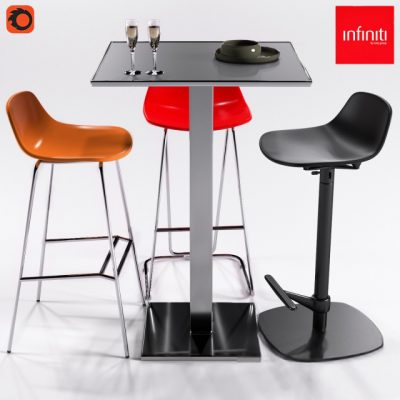 Infiniti Plano 3 Stools Pure Loop Series – Table & Chair 3D Model