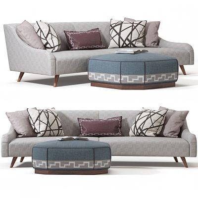 Jay Jeffers Custom Curved Sofa 3D Model