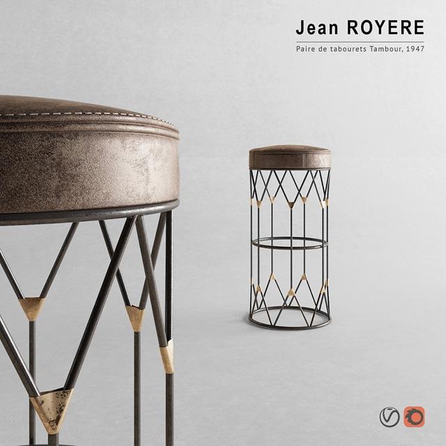 Jean Royere Stool 3D Model 2