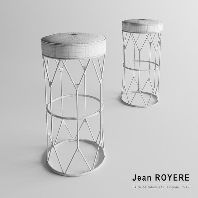 Jean Royere Stool 3D Model 3