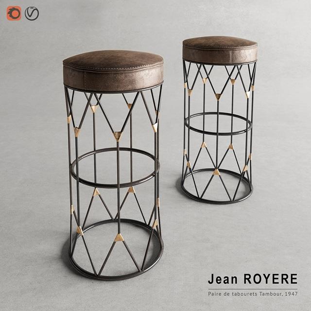 Jean Royere Stool 3D Model