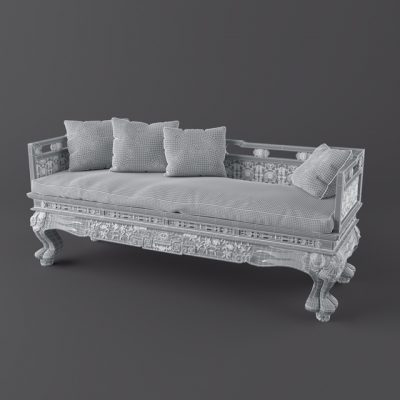Jumbo Collection Classic Wood Sofa 3D Model
