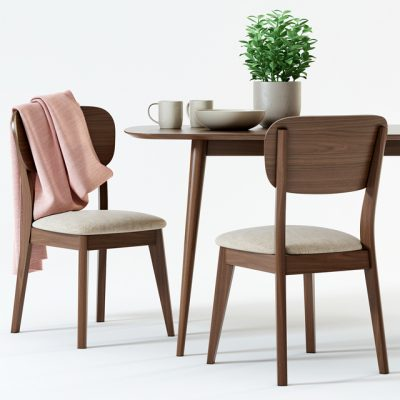 Juneau Dining Table & Chair 3D Model 2