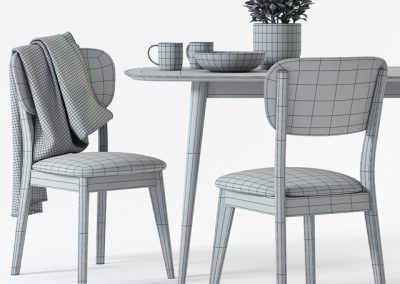 Juneau Dining Table & Chair 3D Model 3