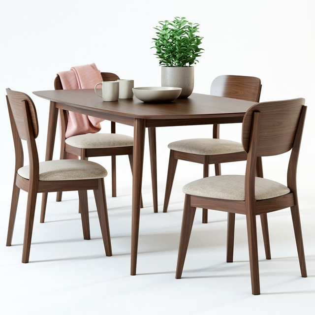 Juneau Dining Table & Chair 3D Model