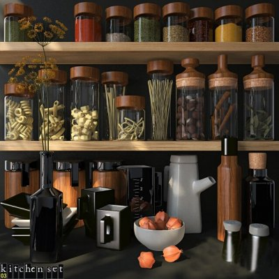 Kitchen Set 03 for kitchenware 3D model