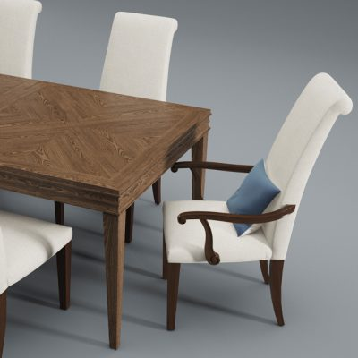 Lenore Dining Table & Chair 3D Model