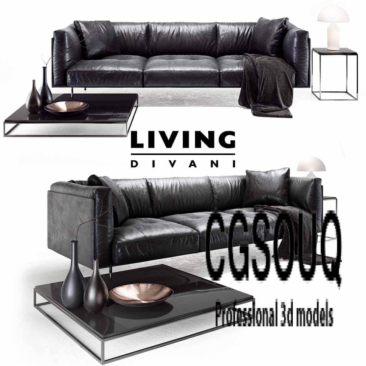Living Divani Leather Rod Sofa 3D Model