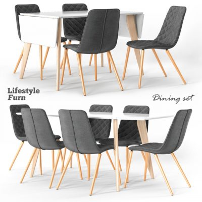 Lifestyle Furn Dining Table & Chairs 3D Model
