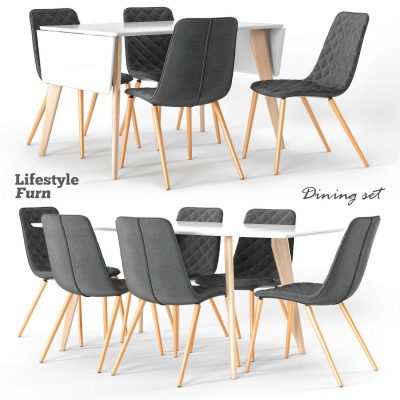 LifestyleFurn dining set 3D model 03