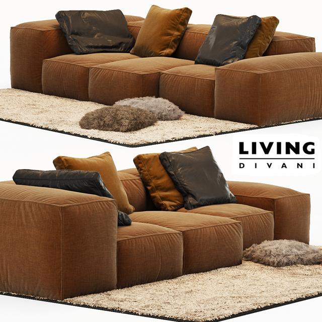 Living Divani Extrasoft Sofa Set-01 3D Model