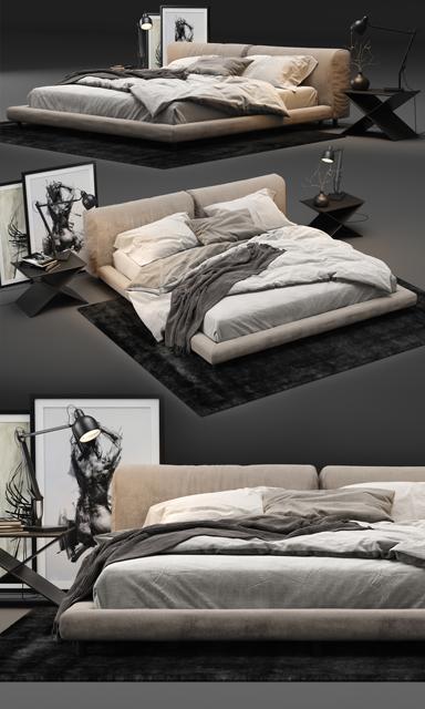 Living Divani Softwall Bed 3D Model 2