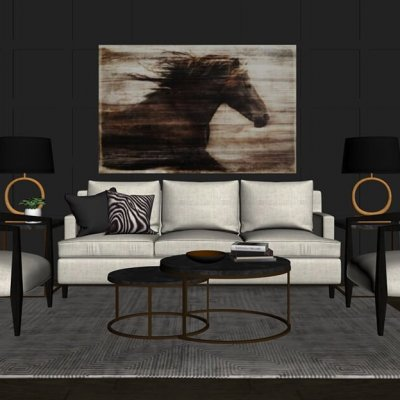 Living Furniture Set 3D model 2