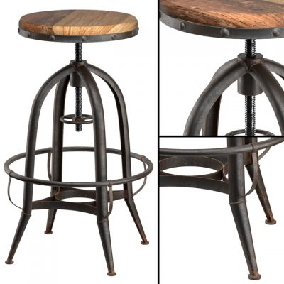 Loft Industrial-Rotative Bar Stool 3D Model