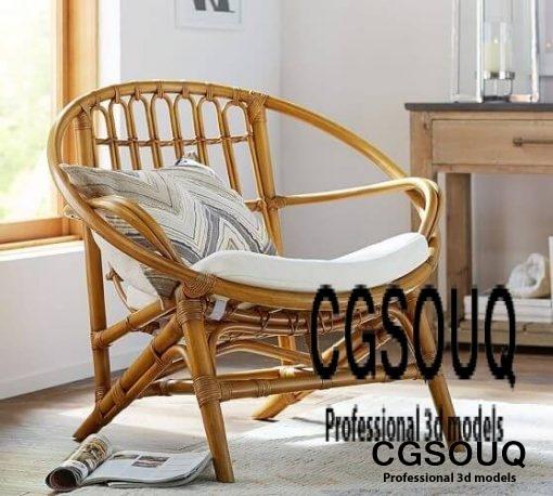 Luling Rattan ArmChair Outdoor Furniture 3D model