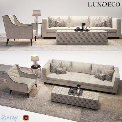 Luxdeco Living Room Sofa Set 3D Model