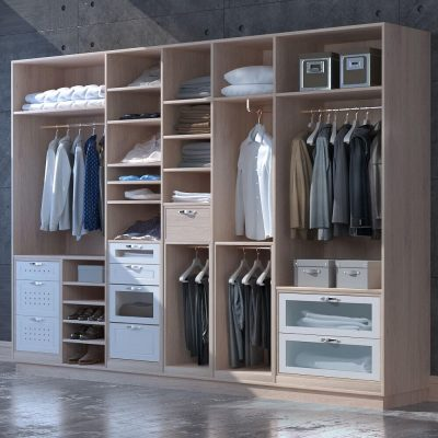 Male Wardrobe with Clothes 3D model 1