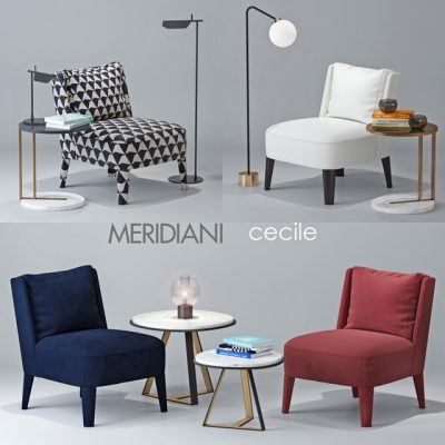 Meridiani Cecile Armchair 3D Model
