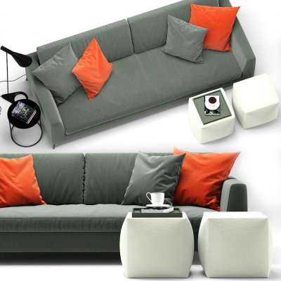 Meridiani Louis Up Sofa 3D model