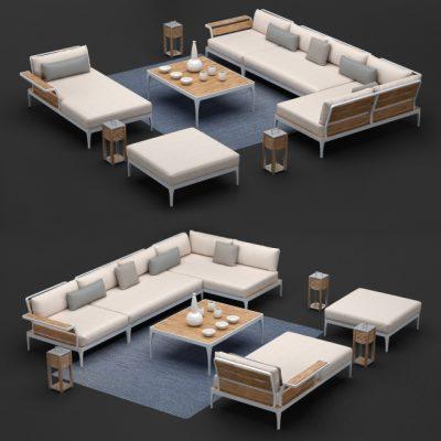 Meridien Outdoor Sofa Collection 3D Model
