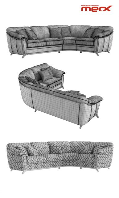 Merx Anastasia Corner Sofa 3D Model 3