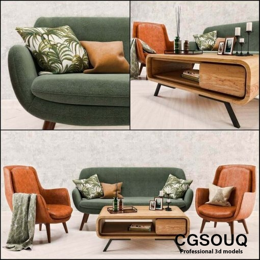 Mid Century Sofa and Chair set furniture set 3D model (1)
